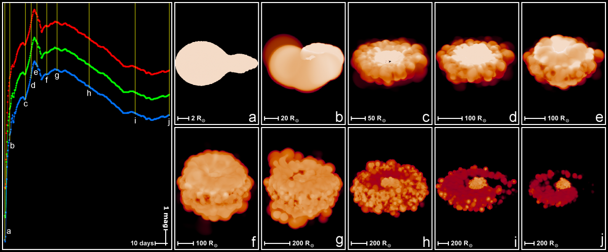 Volume renders of 10 different stages of a binary merger, with accompanying light curve.